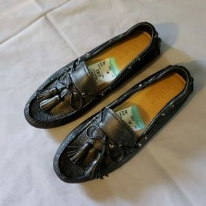 New coach black leather loafers